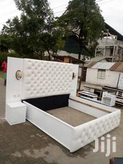 New Designer White Leather King Size Bed | Furniture for sale in Dar es Salaam, Kinondoni